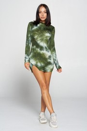 Tiedye Long sleeve mini dress. TR French Terry Tiedye Holes.
