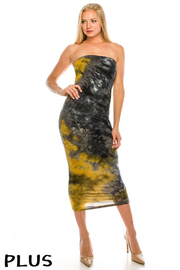 Plus Size Tie-Dye Tube Dress.