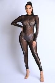 L/S Mesh Metallic Skeleton Catsuit.