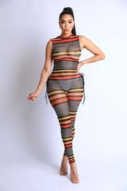 Striped Fishnet Side Open Jumpsuit.