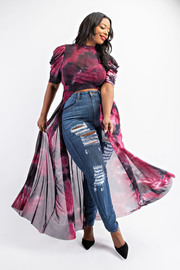 Plus Size Tie Dye Pleated Short sleeve Maxi Top.