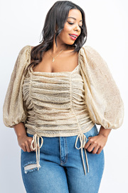 Plus Size Ballon Sleeve Ruched Top.