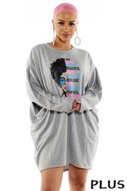 Plus Size Women Face Boxy Top Dress W/ Pockets.