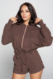 Long Sleeve Hoodie Romper with front zipper.