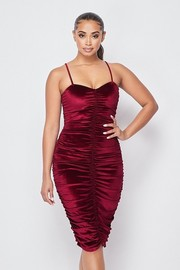 Ruched Sleeveless Velvet Dress.