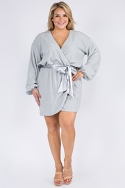 Plus Size Long Sleeve Mini Dress with waist tie.