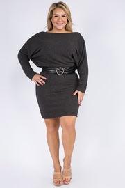 Plus Size Long Sleeve Mini Dress with Belt.