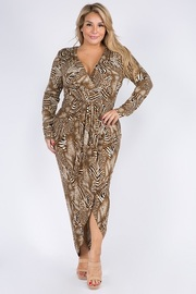 Plus Size Brushed Leopard Draped Hi-Lo Dress.