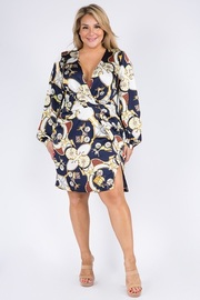 Plus Size Printed Long Sleeve Mini Dress.