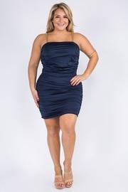 Plus Size Solid Shrring Mini Dress.