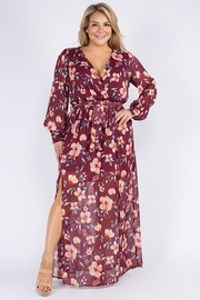 Plus Size Floral Wrapped Maxi Dress.