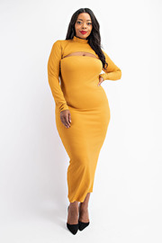 Plus Size Rib Tube Dress with Long Sleeve Top.