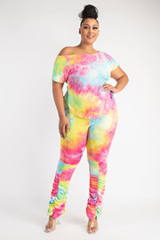 Plus Size Tie Dye Top and Ruched Bottom Pants Set.