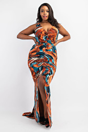 Plus Size V-neck Mermaid Maxi Dress.