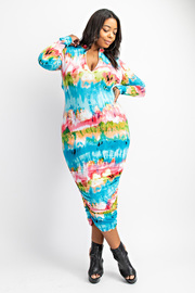 Plus Size Midi Dress with Side Shirring.