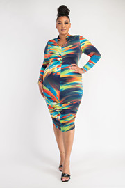 Plus Size Zip Front Dress with Ruched Bottom.