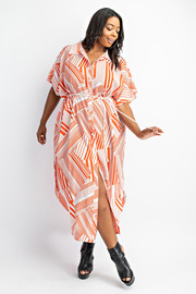 Plus Size Maxi Button Down Shirt Dress with Belt.