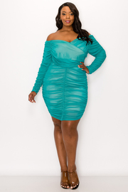Plus Size Open Shoulder Solid Sexy Dress.