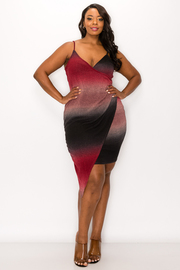 Plus Size Two tone Color Mini Dress.