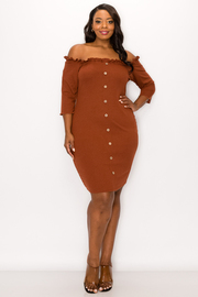 Plus Size Open Shoulder 3/4 Sleeve Dress with Button.