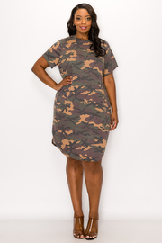 Plus Size Camo Print Short sleeve Dress.