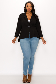 Plus Size Long Sleeve Jacket with One Button.