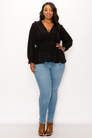Plus Size V-neck Long Sleeve Top.