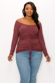 Plus Size Shrring Long Sleeve Top.