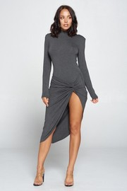 Long Sleeve Twist Front Dress.