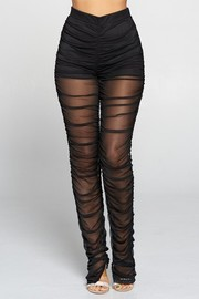 Solid Sheer Leggings. Power Mesh Fabric.
