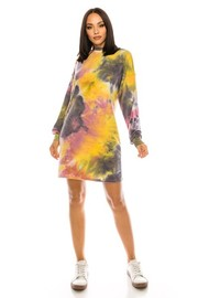Tiedye French Terry Long Sleeve Mini Dress.