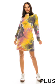 Plus Size Tiedye French Terry Long Sleeve Mini Dress.