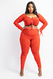 Plus Size Ruched Front Crop Top and Ruched Leggings set.