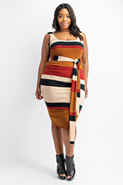 Plus Size Ribbed Tank Dress with Front Tie.