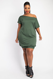 Off Shoulder Balloon Hem Dress. BELT NOT INCLUDED.OT INCLUDED.