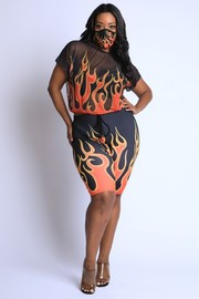 Plus Size Flame Printed Mesh top and Biker Set.