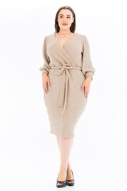Plus Size Sweater Long Sleeve with Belt Dress.