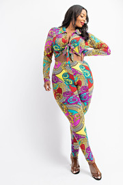 Plus Size Tie Front Shirt and Legging set.