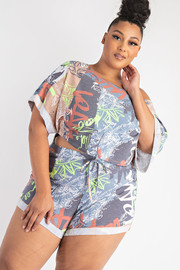 Plus Size Off Shoulder Crop Top and Shorts Set.