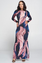 Print Long Sleeve Maxi Dress.