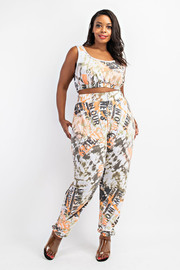 Plus Size Crop top and Jogger Set.