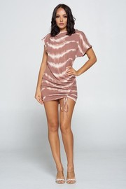 Short Sleeve Tiedye Dress with Drawstring Ruched Side.