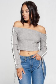 Knit Open Shoulder Crop Top with Side Detail.