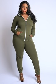 Plus Size Zip up hoodie lounge jumpsuit.