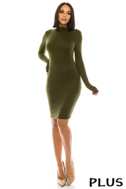 Plus Size Solid Long Sleeve Mini Dress.