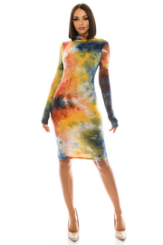 Tiedye Long Sleeve Mini Dress.