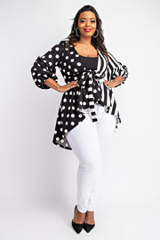 Plus Size Balloon Sleeve High-Low Cardigan.