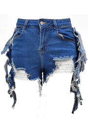 Fringe Denim Short Jeans.