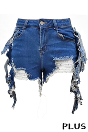 Plus Size Fringe Denim Short Jeans.
