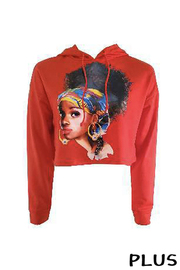 Plus Size Hoodie Women Afro Sweater Top.